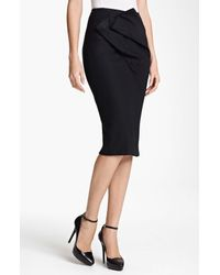 Donna Karan New York | Black Collection Draped Double Knit Skirt | Lyst