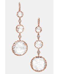 Ivanka Trump | White Rose Gold Long Stone Diamond Drop Earrings | Lyst