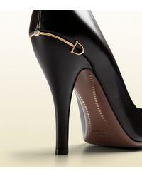 Gucci Black Leather High-heel Pump