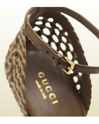 Gucci Natural Kyligh Hand Woven Highheel Sandal with Python Covered Heel