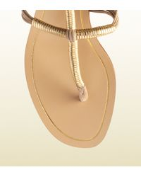 Gucci Natural Anita Metallic Leather and Suede Lowheel Thong Sandal