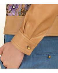 Gucci Multicolor Khaki Leather Jacket with Flora Embroidery for men