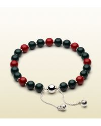 Gucci Bracelet With Green And Red Wooden Beads for men
