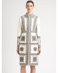Valentino - White Embroidered Coat - Lyst