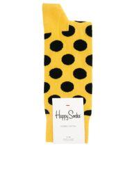 Happy Socks - Yellow Big Dot Socks for Men - Lyst
