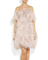 Alexander McQueen | Gray Offtheshoulder Feather Dress | Lyst