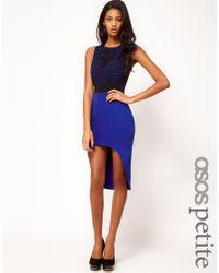 ASOS Blue Dress with Lazercut Detail and Hi Lo Hem