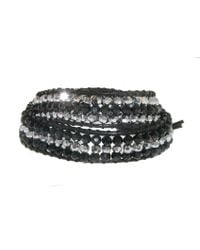 Melissa Odabash | Jet Crystal Black Leather 2 Wrap Bracelet   | Lyst