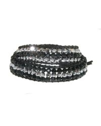 Melissa Odabash - Jet Crystal Black Leather 2 Wrap Bracelet   - Lyst