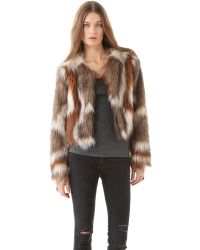 Twelfth Street Cynthia Vincent | Brown Faux Fur Jacket | Lyst