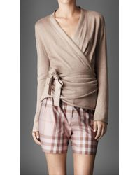 Burberry - Natural Silk Blend Wrap Cardigan - Lyst