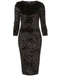 TOPSHOP Black Crushed Velvet Midi Dress