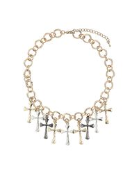 TOPSHOP - Metallic Cross Charm Collar - Lyst