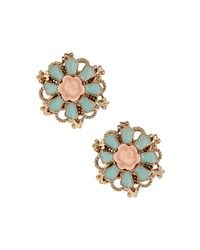 TOPSHOP - Green Flower Stud Earrings - Lyst