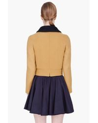 Carven - Yellow Wool Cashmere Drap Jacket - Lyst