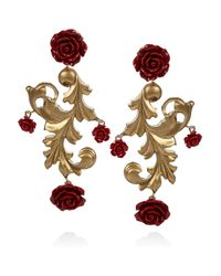 Dolce & Gabbana - Red Goldplated Rose Clip Earrings - Lyst