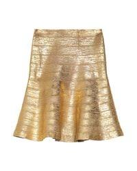 Hervé Léger | Metallic Coated Bandage Skirt | Lyst