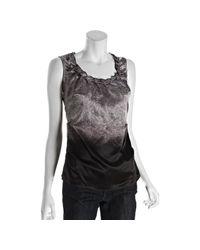 Tahari - Gray Black and Grey Ombre Lace Print Jaimita Ruffle Trim Sleeveless Blouse - Lyst