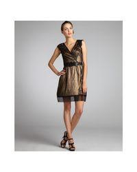 Vera Wang Lavender - Metallic Lace-sleeve Lame Dress - Lyst
