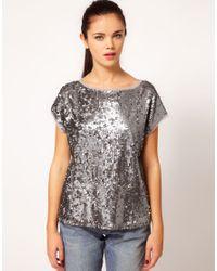 River Island | Metallic Sequin Tshirt | Lyst
