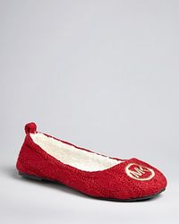 Michael Kors - Red Michael Cable Knit Slippers Jet Set Mk Logo Ballet - Lyst