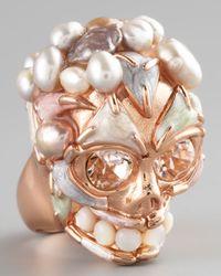 Alexander McQueen | Pink Pearl Skull Ring | Lyst