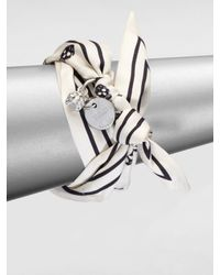 Alexander McQueen - White Skull Print Silk Wrap Bracelet - Lyst
