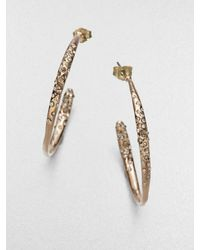 Alexis Bittar | Metallic Miss Havisham Liquid Crystal Rose Goldtone Hoop Earrings/1.5 | Lyst
