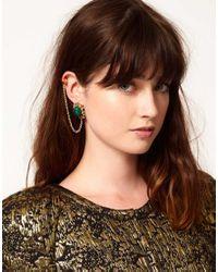 ASOS - Green Filigree Stone Link Ear Cuff - Lyst