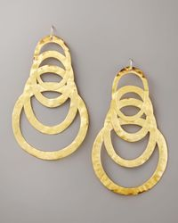 Devon Leigh | Metallic Hammered Gold Drop Earrings | Lyst