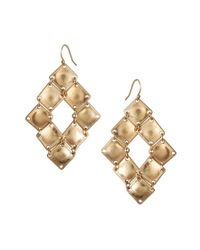 French Connection | Metallic Beaten Square Drop Earrings | Lyst
