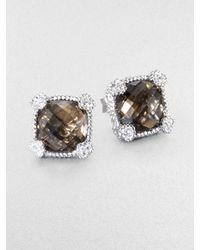 Judith Ripka - Brown La Petite Smoky Quartz, White Sapphire & Sterling Silver Cushion Stud Earrings - Lyst