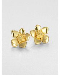 Kate Spade | Metallic Flower Stud Earrings | Lyst