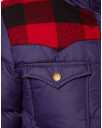 Penfield - Blue Rockford Down Filled Check Patch Jacket - Lyst