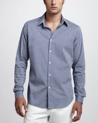 Theory | Blue Check Sport Shirt Navy for Men | Lyst