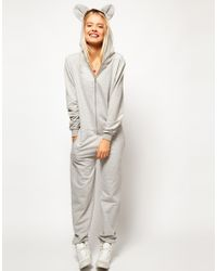 ASOS | Gray Onesie With Ears And Hood | Lyst