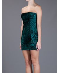 Balmain | Green Velvet Mini Dress | Lyst