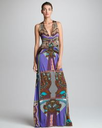 Etro - Purple Ruched front Printed Maxi Dress - Lyst