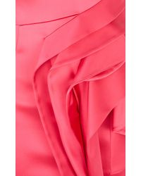 Karen Millen | Pink Extreme Waterfall Satin Dress | Lyst