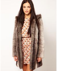 River Island | Gray Maxi Faux Fur Coat with Hood | Lyst