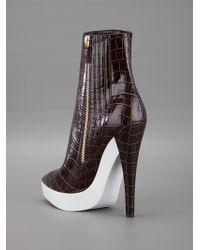 Stella McCartney   Brown Alligator Texture Ankle Boot   Lyst