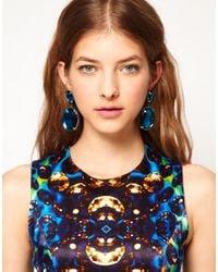 ASOS - Blue Gem Drop Earrings - Lyst