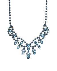 ASOS | Blue Premium Jewelled Bib Necklace | Lyst
