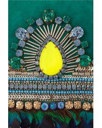 Matthew Williamson | Green Swarovski Crystalembellished Suede Clutch | Lyst
