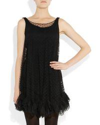 MILLY Black Lisette Polka dot Tulle Dress