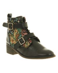 Office Multicolor Domino Strap Ankle Boot Floral Tapestry