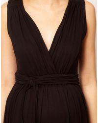 ASOS Black Grecian Drape Maxi Dress