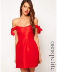 ASOS Red Off Shoulder Dress with Bow Detail