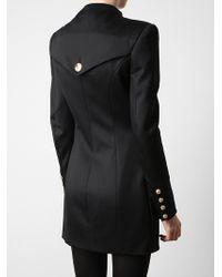 Balmain   Black Structured Wool-blend Military Dress   Lyst