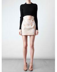 Balmain | White Velvet and Leather Miniskirt | Lyst